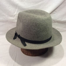 Grey Heathered Columbia Wool Hat with Black RIbbon -- Size 7 3/4