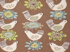 VTG NOVELTY MCM RETRO EAMES CHICKEN BIRD COTTON DECOR FABRIC Brown Blue PILLOW