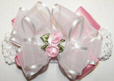 Frilly Pink White Headband Organza Satin Rose Baby Girls Wedding Accessories