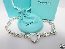 "RARE Tiffany & Co. Sterling Silver Heart Clasp 16"" Necklace w/ Box & Pouch"