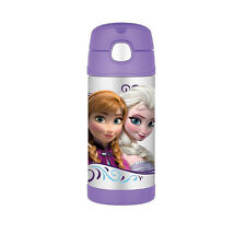 Disney Frozen Thermos Frozen 12 Ounce Funtainer Straw Bottle Elsa, Anna Purple