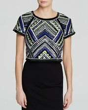 NWT $341 Parker Bora Beaded Top Polaris Size SMALL S sequin neon embellished