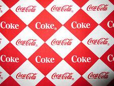 COCA COLA COKE CHECKED RED WHITE COTTON FABRIC FQ