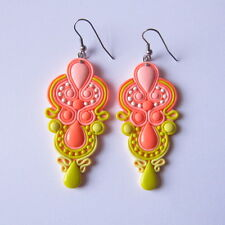 Neon Salmon Pink Peach Lemon Yellow Long Light Statement Boho Hippie Earrings