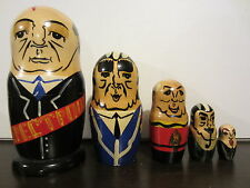 Vintage Wooden 5 Nesting Dolls Perestroika Gorbachev and Soviet/Russian Rulers