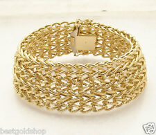 "8"" Italian Bold Mesh Woven Wide Bracelet REAL 18K Yellow Gold 27.70 grams"