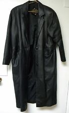 Vintage CHARLES KLEIN Women's Full Length Black Leather Trench Coat Size Medium
