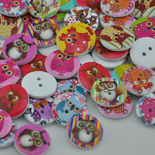New 50 pcs Cute Owl Wood Buttons 20mm Sewing Craft Mix Lots WB81