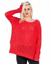 2016 NWT WOMENS VOLCOM OPEN ROAD SWEATER $60 S fire red side slit open knit