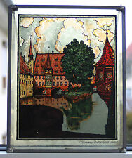 "Älteres massives Fensterbild Bleiverglast "" Heilig - Geist - Spital Nürnberg "" !"
