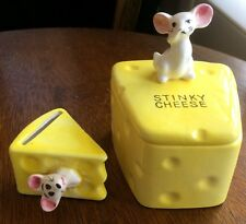 "Sunny Yellow ""Stinky Cheese"" Ceramic Lidded Box Vintage Mouse Holding Nose 3 Pc"