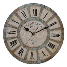 Antique Vintage Wood Wall Clock Round Large Art Home Decoration Roman Numbers