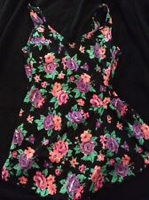 Vintage Robby Len Swimsuit One Piece 12T 12 Tall Modest Floral Black Pink Purple