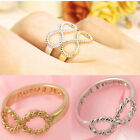 Lucky 8 Best Friends Engraved Friendship Infinity Ring Women Fashion Jewelry
