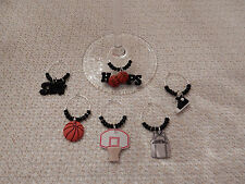 "BASKETBALL "" SET OF 6 HANDCRAFTED"" Wine Glass Charm drink markers"