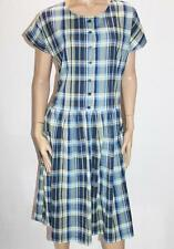 Cabin Creek Brand Blue Check Short Sleeve Pocket Day Dress Size L BNWT #SH79