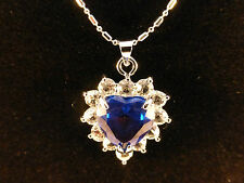 Austrian Crystals 18k White Gold Plated Deep Blue Heart & White Crystal Necklace