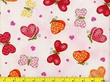 Cute Red Pink Orange Yellow Butterfly Hearts Quilting Fabric by Yard  #456