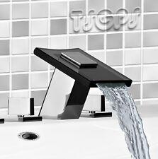 Design 3Loch Armatur Wasserfall Waschbecken Badewanne Glas Schwarz Chrom PIA