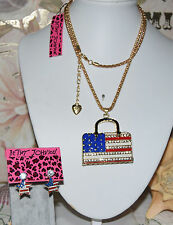 2 PC BETSEY JOHNSON RED WHITE BLUE FLAG HANDBAG NECKLACE  FLAG & CRYS EARRINGS