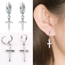 CHIC Men Women Stainless Steel Dangle Cross Ear Stud Hoop Huggies Earring Punk