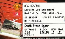 MANCHESTER UNITED V ARSENAL 1 DECEMBER 2004 LEAGUE CUP TICKET