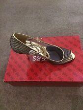 Guess Gold Multi Fabric Heels Size 7