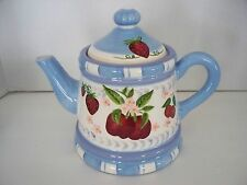 Country Blue & STRAWBERRIES Teapot Heartfelt Kitchen Collection Coffee Fruit