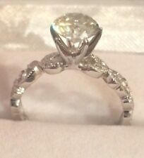 1.29CTW  Round Moissanite & Natural Diamonds 10K Solid Gold Ring