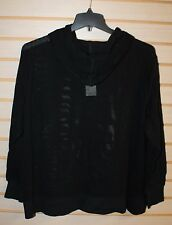 COOL NEW WOMENS PLUS SIZE 3X BLACK NETTED MESH ACTIVE PULL OVER ON HOODIE HOODY