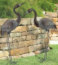 Bronze Crane Pair Metal Garden Statues Mystical Bird Yard Art Heron Sculpture