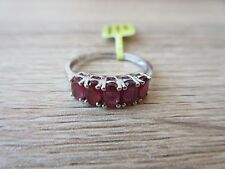 Niassa Ruby 5 Stone Ring Platinum Overlay Sterling Silver Size 5,6,7,8,9 Option