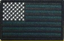 USA AMERICAN Flag Iron On Patch Morale Black & Evergreen Version Black Border