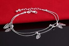 925 Sterling Silver Plated Leaf Double Ankle Bracelet Anklet UK gift bag