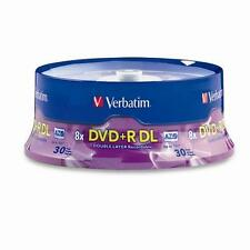 VERBATIM DVD+R DL DOUBLE LAYER 8.5 GB 8X 240 MIN AZO 30 PACK SPINDLE  96542
