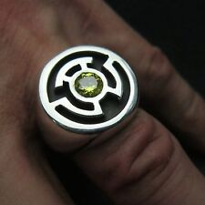 MJG STERLING SILVER GREEN LANTERN RING.SINESTRO. 6mm CZ. SZ 10. COMIC CON