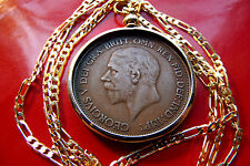 """1936 English Rare King George V Penny Coin Pendant 28"""" Gold Filled Figaro Chain"""