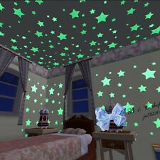 Glow In The Dark 100Pcs Stars Wall Stickers Children Bedroom Decor