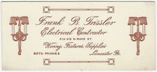 1920s Lancaster Pennsylvania Electrical Contractor Advertising Blotter -Trissler