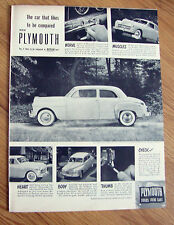 1949 Plymouth Ad  Nerve Muscles Heart Body Thumb Check