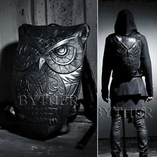 ByTheR Men's Black Faux Leather Rubber Made Owl Embossing Pattern Backpack UK N