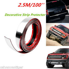 100'' 2.5m Car Door Edge Bumper Guard Strip Protector Moulding Trim Strip Chrome