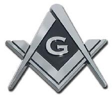 Mason Square and Compass Metal Auto Emblem (NEW) Chrome Car Decal Sticker MVP