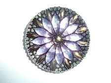 Beautiful Large Czech Glass Flower Button - Light Purple w/ Gold Finish  31mm