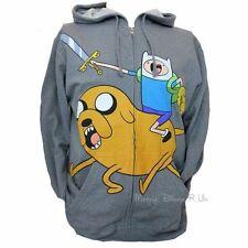 New Adventure Time Finn & Jake Mens Zip Hoodie Hoody Sweatshirt W/Battle Sword L