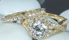 Solid 14k Yellow Gold Bridal 2.20 CT Round Cut Engagement Ring band set