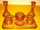 ART DECO AMBER/YELLOW GLASS DRESSING TABLE SET ring holders miss match (2.5/25A)
