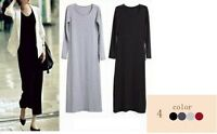 Classic Womens Ladies Long Sleeve Stretch Plain Bodycon Maxi Full Length Dress