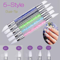 5Pcs Acrylic Rhinestone Nail Art Brushes Pen Silicone Head Carving Tool New