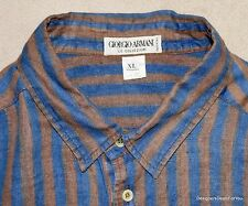 GIORGIO ARMANI Mens Linen Shirt XL Brown Stripe Long Sleeve Collezioni